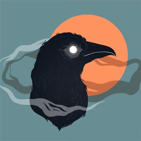 vector illustration of a raven