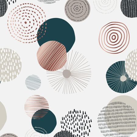 Seamless pattern with various round shapes and doodle. Neutral abstract contemporary design in minimalist style. Vector illustration