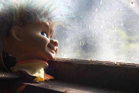 troll dolls: Creepy Troll Doll Head Stock Photo