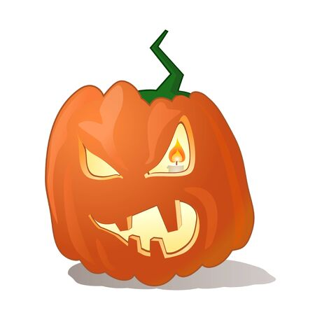 Angry halloween pumpkin, orange, candle