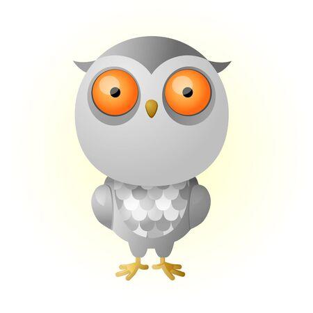 owlet: Gris lindo owlet, b�ho, icono del b�ho Vectores