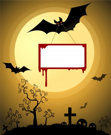 Halloween night,  background with Moon, invitation card