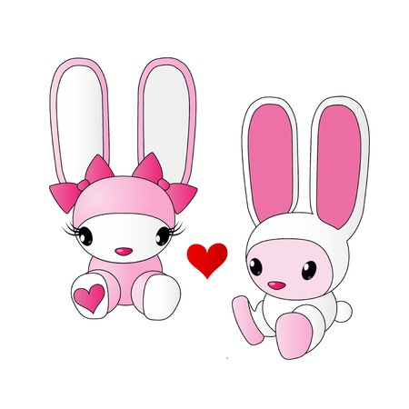 Cute pink rabbits on white
