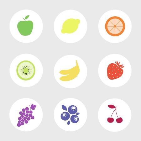 fruit web food taste icons Illustration