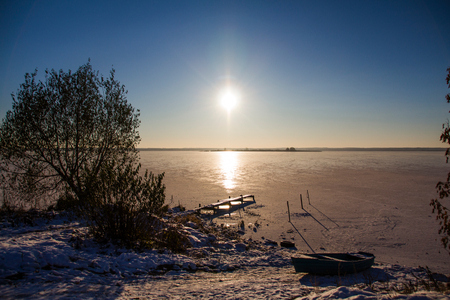 boundless: Boundless lake in ice Stock Photo