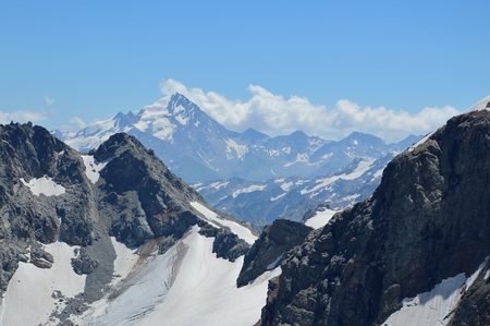 gsteig bei gstaad: Snow-capped mountains snowy landscape Stock Photo
