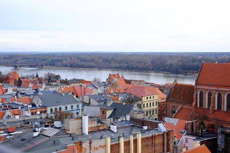 torun: Panorama of Torun town Stock Photo