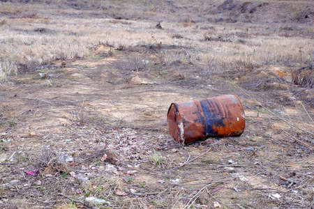 deforestation: Old rusty barrel rusty, deforestation nature environment iron Stock Photo