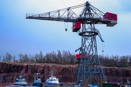 heavy industry: Industrial cranes engineering, port heavy sunset industry