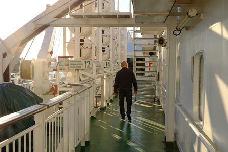 ship deck: Worker on ship deck worker, fisherman vessel commercial
