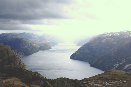 Panorama fjord with Preikestolen background, travel nature