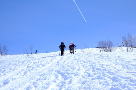 snow climbing: climbing on snowy mountain climbing, team snow winter