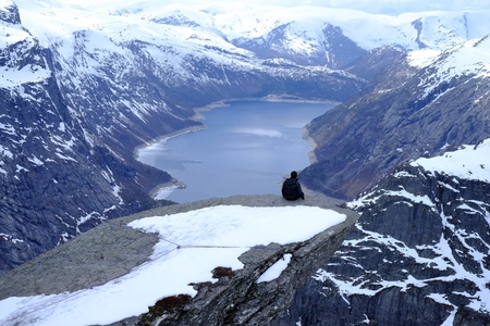 norwegian: Trolltunga in snow tongue, top norwegian hardanger,
