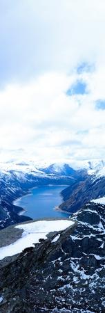 hardanger: Panorama trolltunga winter, norwegian norway trip rock, top, mountains