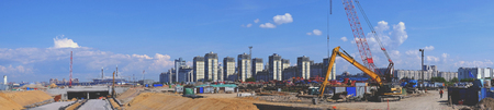 site: Panorama industrial construction view, crane business city