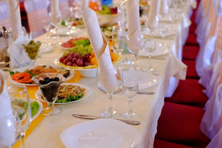 dinne: Food at banquet table, dining, dinne banquet wedding Stock Photo