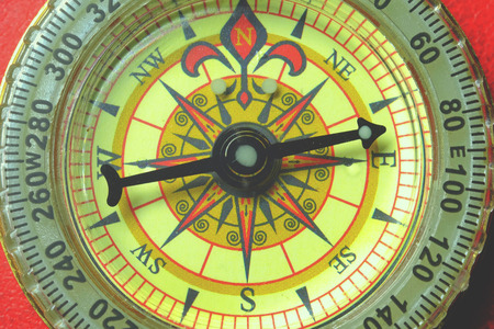 old macro: Compass macro direction, old macro journey closeup