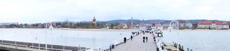 friedrichshafen: Panorama of pier and shore beach, bay, water, travel Stock Photo