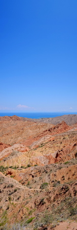 kyrgyzstan: Panorama of the fairy-tale canyon and Issyk-Kul sky, beautiful, nature Foto de archivo