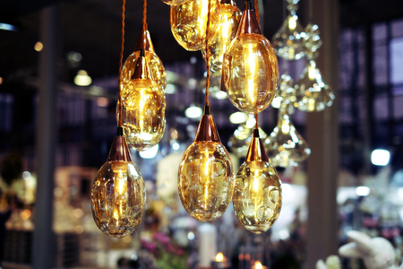 Glass decorative chandelier electricity, retro, concept bulb