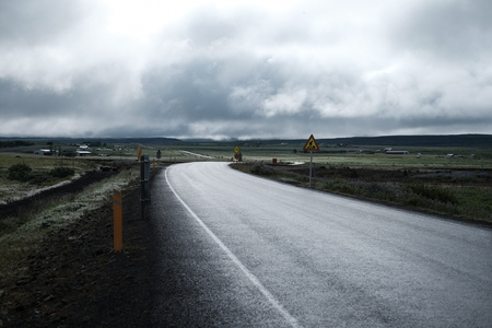 Iceland road way, background, trip ring landscape
