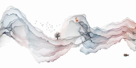 Abstract ink artistic landscape decoration painting simple line background