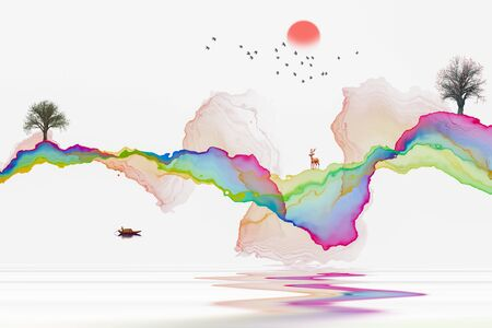 Ink abstract lines artistic landscape decoration painting