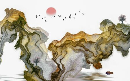 Ink painting abstract landscape decoration painting Standard-Bild - 130661196