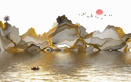 Ink painting abstract landscape decoration painting Standard-Bild - 130661280