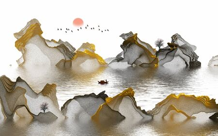 Ink painting abstract landscape decoration painting Standard-Bild - 130661359