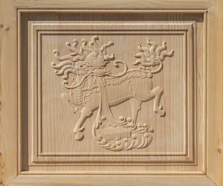Kirin wood carving