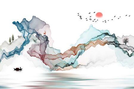 Ink landscape decoration illustration abstract line poster background Standard-Bild - 136943533