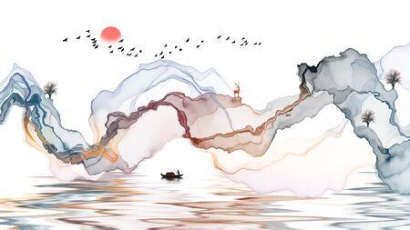 Ink landscape decoration illustration abstract line poster background Standard-Bild - 136943590