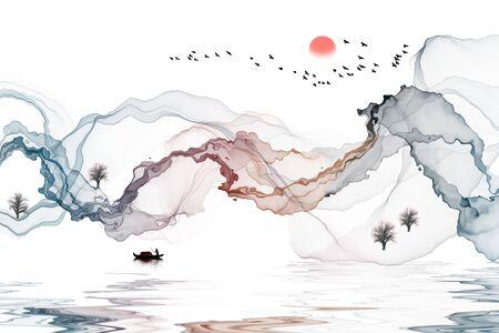 Ink landscape decoration illustration abstract line poster background Standard-Bild - 136943592