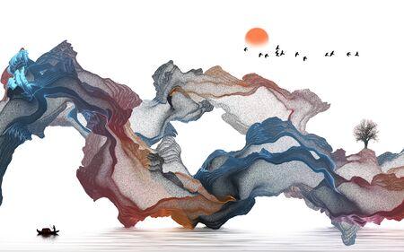 Ink landscape decoration illustration abstract line poster background Standard-Bild - 136943596