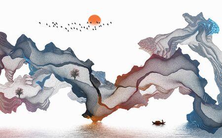 Ink landscape abstract art poster Standard-Bild - 136943603