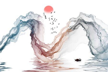Abstract ink landscape decorative painting background Standard-Bild - 136943604