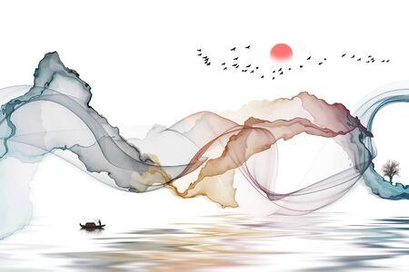 Ink landscape abstract decorative painting background Standard-Bild - 136943605