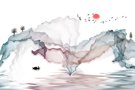 Abstract ink landscape painting Standard-Bild - 136943632