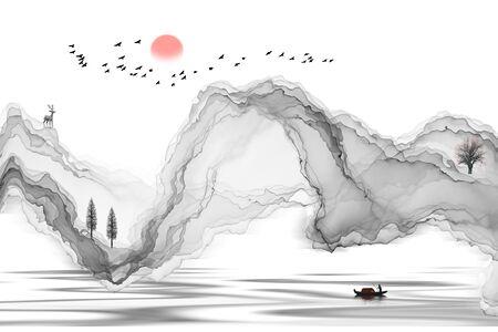 Ink landscape decoration illustration abstract line poster background Standard-Bild - 136943638