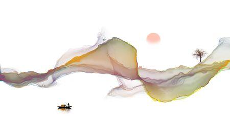 Ink landscape decoration illustration abstract line poster background Standard-Bild - 136943646