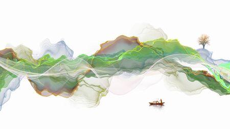 Ink landscape decoration illustration abstract line poster background Standard-Bild - 136943656