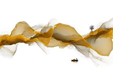 Ink landscape decoration illustration abstract line poster background Standard-Bild - 136943657