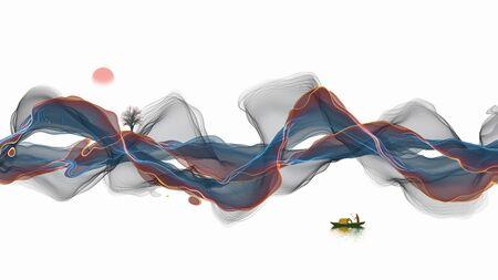 Ink landscape decoration illustration abstract line poster background Standard-Bild - 136943654