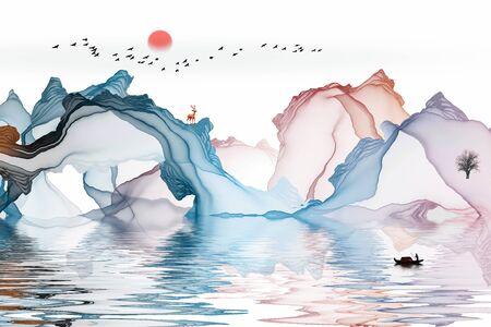 Ink landscape decoration illustration abstract line poster background Standard-Bild - 136943661