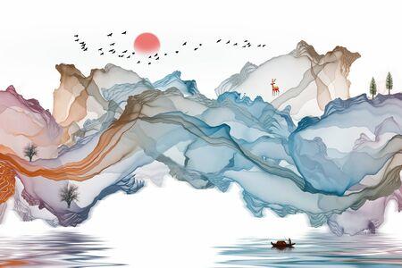 Ink landscape decoration illustration abstract line poster background Standard-Bild - 136943672