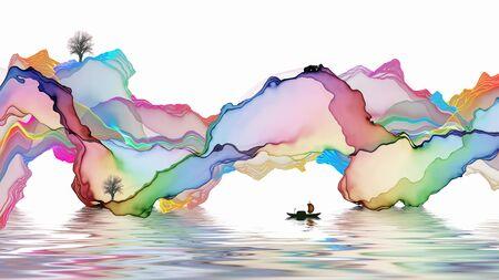 Ink landscape decoration illustration abstract line poster background Standard-Bild - 136943665