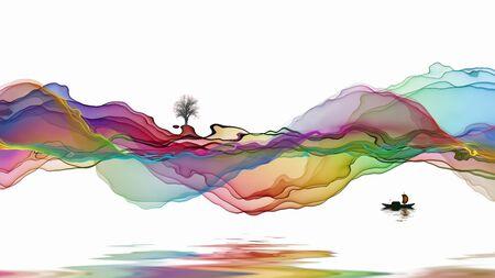 Ink landscape decoration illustration abstract line poster background Standard-Bild - 136943671