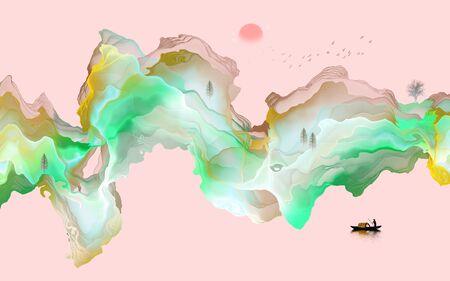Abstract ink line landscape background Standard-Bild - 137035688