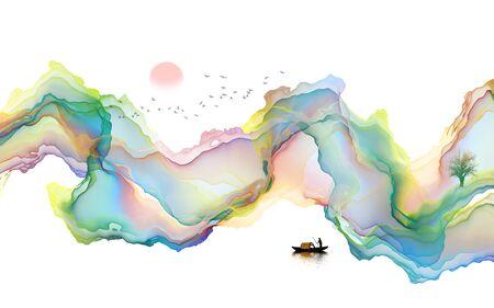 Abstract ink line landscape background Standard-Bild - 137035730